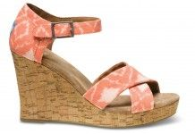 Toms Orange Geometric Ikat Strappy Wedges