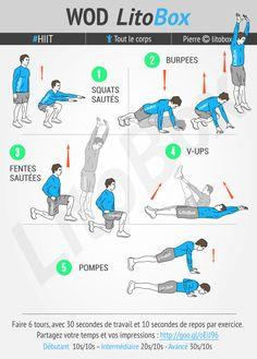 Faites de la cardio, brûlez du gras et gardez vos muscles avec ces 20 minutes de HIIT sans matériel : squats, burpees, fentes, abdos et pompes !  Bonne journée et bon courage.  #litobox #HIIT