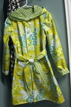I made this raincoat from Amy Butler laminated fabric. Just wish it fit me! Designer Raincoats, Laminated Fabric, Amy Butler, Cool Photos, Sewing, Stylish, Fabrics, Lady, My Style