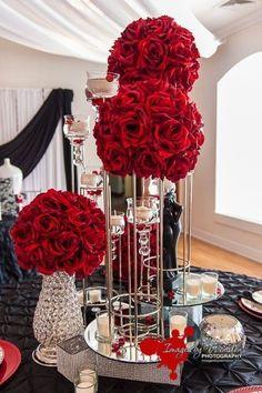 Gorgeous red flower balls. #weddings #red #brides