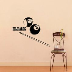 Billiard Wall Decal Vinyl Sticker Wall Decor Home by CozyDecal, $15.99