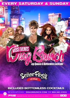 Brunching with the queens of #DragRace this Sunday at #SenorFrogs #DragBrunch by #VossEvents! Reservations at VossEvents.com