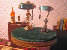 miniaturowe-domki: Lampa gabinetowa zielona skala 1:12 krok po kroku how to make these miniature banker's lamps