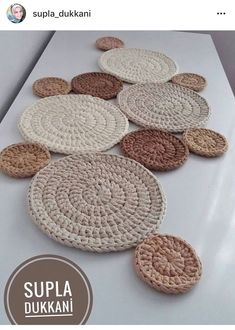 Home Decor, Natural Rope Table Runner / Tablecloth MERIDA Best Housewarming Gift, New Home Gift, Rustic Decor, Kitchen Table Decor Crochet Doily Rug, Crochet Rug Patterns, Crochet Circles, Crochet Quilt, Crochet Cross, Crochet Home, Crochet Designs, Crochet Stitches, Knit Crochet
