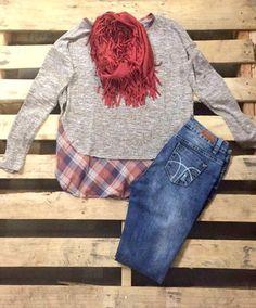 Plaid Detail Sweater Top   #EverythingMustGo #SquadGoals #SweaterWeather #FloralMockDress #RAWR #LeggingLove #Clearance #FreeShipping #littlegirls #KimonoLove