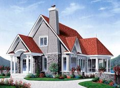 Elevation of Country Tudor House Plan 65179