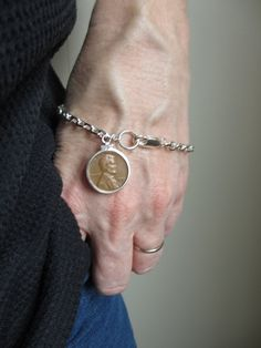 Authentic 1950's Lincoln Head Wheat Penny Coin Bracelet Silver Finish on Brass 4mm Curb Chain Bracelet Sterling Silver Coin Holder