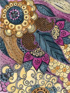 "Fine Art Print PAISLEY - blau Magenta Ocker Reproduktion 8 ""x 10"""