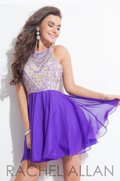 Chiffon A-line dress with AB stones and jeweled neckline. Order today by calling Everything for Pageants at 1-815-782-8877 and ask for our current promotions.