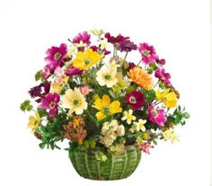Colorful Daisy and Cosmos Silk Flower Arrangment ARWF1201