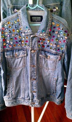 Reworked Rhinestone Vintage Denim Jacket by KodChaPhorn from Bangkok on Etsy