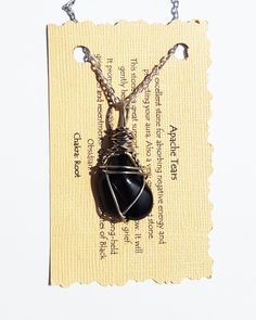 Wire Wrapped APACHE TEAR Grounding Stone Pendant Positive Healing Reiki Energy Crystal Necklace Boho Magic Wicca Gypsy Jewelry AT53116-1 by TheStoneFairyShop on Etsy