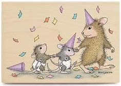 House Mouse Rubber Stamp *Party Animals*     RHMLR1037 #Stampabilities