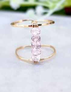 Light Pink Rose Quartz Ring, Gold Filled 14k Ring, Gold Rose Quartz Ring, Beaded Ring, Rose Gold Ring or Sterling Silver 925 Ring, High Ring