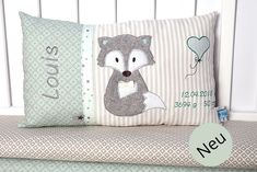 Personalized pillow for birth or baptism fox mint gray made of cotton fabric cuddle cushions childrens pillows name cushions baby Cuddle Pillow, Baby Pillows, Kids Pillows, Animal Pillows, Fox Pillow, Presents For Girls, Diy Gifts For Kids, Personalized Pillow Cases, Personalized Gifts