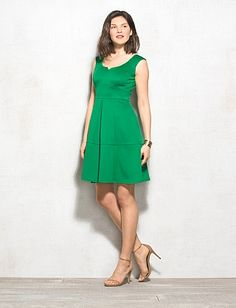 green fit and flair; also in black(http://www.dressbarn.com/detail/seamed-fit-and-flare-dress/102352809/150)