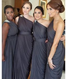 One Shoulder Bridesmaid Gown,Pretty Prom Dresses,Gray Prom Gown,Simple Bridesmaid Dress,Grey Bridesmaid Dress,Cheap Evening Dresses,Fall Wedding Gowns, Beautiful Bridesmaid Gowns