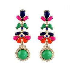 3.21$  Buy now - http://diena.justgood.pw/go.php?t=YE5254001 - Pair of Faux Gem Rhinestone Flower Drop Earrings