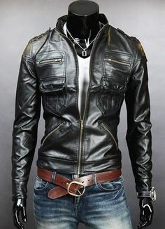 Men's Stand Collar PU Leather Jacket