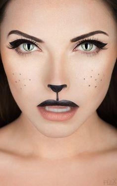 schnelles makeup halloween frau schwarze katze