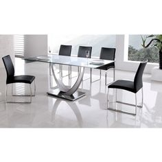 modern dining table glass top