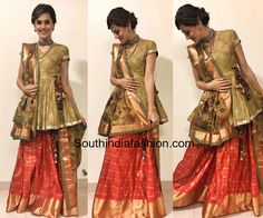 Taapsee in a kanjeevaram lehenga paired with a handloom peplum top and Kalamkari dupatta from Gaurang Shah's Chitravali collection fro judwaa Saree Wearing Styles, Saree Styles, Sari Blouse Designs, Fancy Blouse Designs, Indian Designer Outfits, Indian Outfits, Pakistani Outfits, Designer Dresses, India Fashion