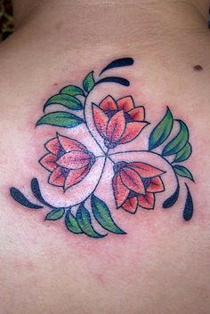spiral flower tattoo with birth month flowers