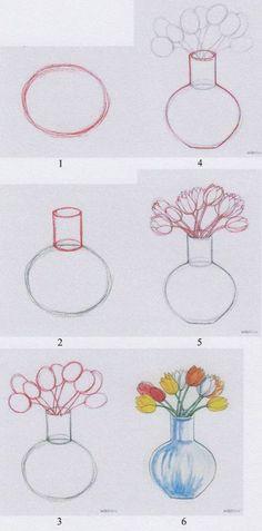 Jak nakreslit tulipány ve váze