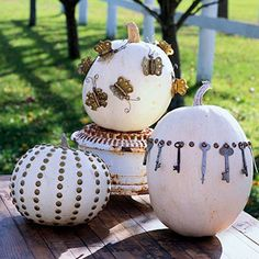 #Pumpkins decorated with hardware finds.