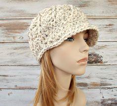 Crochet Hat Womens Hat Wheat Cream Newsboy Hat - Pippa Swirl Crochet Newsboy Hat Wheat Cream Crochet Hat - Cream Hat Womens Accessories by pixiebell on Etsy