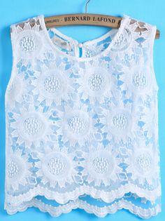 White Sleeveless Floral Crochet Organza Vest US$16.17