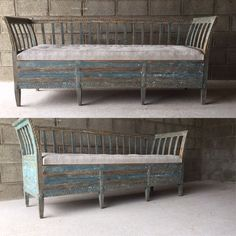 Just in Wonderful Swedish Bench,with original paint and Antique Linen Cushions
