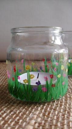Hand-painted Glass tea light holder on Etsy, $8.00