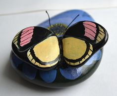 Hand Painted Stone - Butterfly on flower