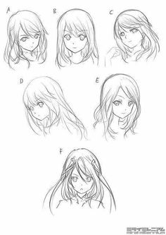 New Ideas drawing tutorial manga face character design references Anime Sketch, Drawing Sketches, Art Sketches, Art Drawings, Drawing Faces, Drawing Style, Anime Hair Drawing, Hair Styles Drawing, Girl Hair Drawing