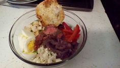 Steak Salad w/ Caramelized Onion, Bell Pepper, Egg, and Blue Cheese Crumbles