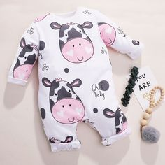 PatPat / Adorable Calf Printed Long-sleeve Jumpsuit for Baby Toddler Girl Outfits, Baby Outfits Newborn, Kids Outfits, Baby Boy Clothes Online, Cute Baby Clothes, Stylish Baby Boy, Baby Girl One Pieces, Baby Dress Patterns, Jumpsuits For Girls
