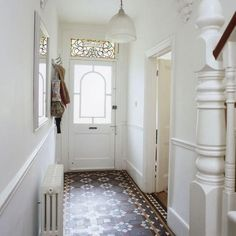 Small hallway lighting ideas narrow hallway ideas tiled hallway small hallway ideas photo gallery beautiful homes . Hall Tiles, Tiled Hallway, Hallway Flooring, Hallway Paint, White Hallway, White Walls, Staircase Walls, Bright Hallway, White Staircase