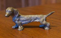 Vintage Metal Dachshund Minature Dog Figurine
