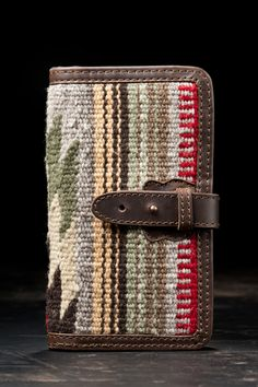 Lana Clutch Wallet - made in Old Mexico from a hand loomed rug and trimmed with full grain leather.