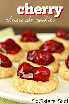 Cherry Cheesecake Cookies with Truvia Baking Blend - Dessert Recipes Oreo Dessert, Cookie Desserts, Just Desserts, Delicious Desserts, Dessert Recipes, Yummy Food, Oreo Trifle, Easy To Make Desserts, Baking Desserts