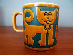 Hornsea Cat and Fish mug by skinnykidvintage on Etsy