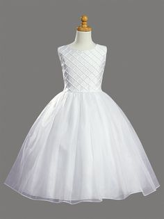 Lito Girl Communion Dress - Shantung tucked bodice with pearl accents. Organza sash tie back and organza tea length skirt. Girls Communion Dresses, Girls Dresses, Flower Girl Dresses, Dresses Dresses, Bridesmaid Dresses, Confirmation Dresses, Baptism Dress, Cute White Dress, Tea Length Skirt