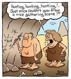 Some fascinating data emerged recently which is causing us to re-think a basic assumption about the early history of modern humans and how m. History Cartoon, History Memes, History Facts, Funny Cartoon Drawings, Early Humans, Illustrations, Funny Comics, Hunting, Beautiful Pictures