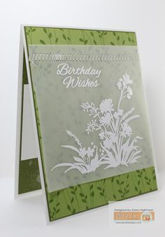 handmade card from Karen's Creative Mess ... white stamping on vellum panel ... luv the zig zag machine stitching to attach the vellum to patterned paper background ... Gina K Designs