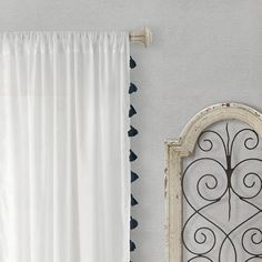 Semi-Sheer Window Curtain with Tassels/Black/Living Room/Bedroom/Drapes/Nursery/Girls Bedroom/Boho - - Sheer Curtains Bedroom, Tassel Curtains, White Sheer Curtains, Cafe Curtains, Window Curtains, Curtain Panels, Teen Curtains, Curtains Living, Thing 1