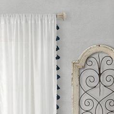 Semi-Sheer Window Curtain with Tassels/Black/Living Room/Bedroom/Drapes/Nursery/Girls Bedroom/Boho - - Sheer Curtains Bedroom, Living Room Drapes, White Sheer Curtains, Tassel Curtains, Cafe Curtains, Teen Curtains, Classic Curtains, Rod Pocket Curtains, Curtain Panels