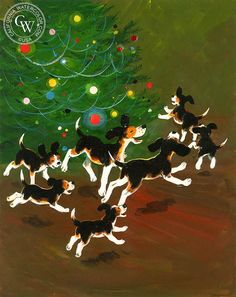 Joyful Beagles around the Tree, 1970