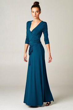 blue surplice maxi dress