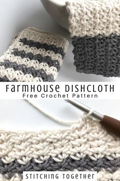 Don't you just love crocheting dishcloths? These pretty farmhouse dishcloths work perfectly for yo. Crochet Diy, Crochet Simple, Crochet Home, Dishcloth Crochet, Crochet Owls, Crochet Mandala, Crochet Afghans, Crochet Blankets, Double Crochet